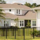 black aluminum fence around backyard with palm tree